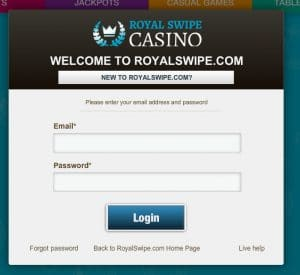 RoyalSwipe Login Screen - Mobile Slots Pay by Phone Bill
