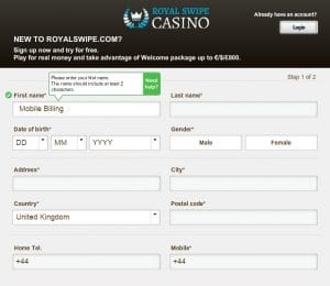 RoyalSwipe Register Page 1 - Mobile Slots Pay by Phone Bill
