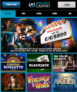 RoyalSwipe Lobby - Phone Bill Casino