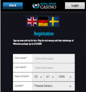 Register form - Phone Bill Casino