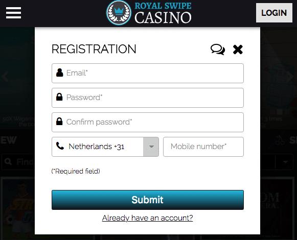 Register form - Phone Bill Casino