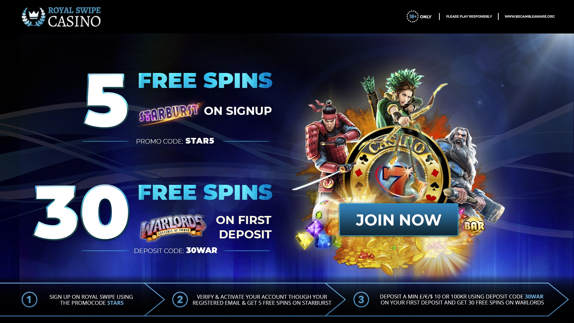 Get Free Spins On Starburst And Warlords Slot Games