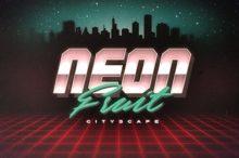 Neon Fruit Cityscape